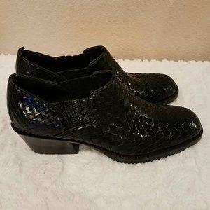 COLE HAAN Basket Weave Black Leather Booties